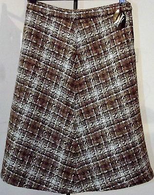 Vintage tweed skirt UNUSED 1970s wool mix DOMINANT Waist 28 30 32 inch brown