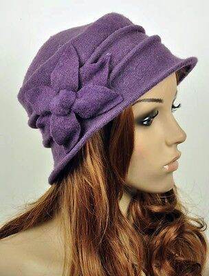 JM33 6-Leaf Flower Wool Elegant Lady Women's Warm Winter Hat Beanie Cap PURPLE