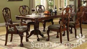 NEW Furniture! 7 pc Brunswick Formal Dining Room Set, Includes Table, w/6 Chairs