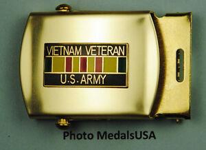 Army-Vietnam-Veteran-tan-khaki-Web-Belt-amp-brass-buckle-USA-B627