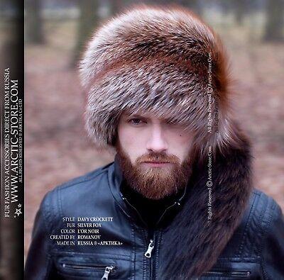 GREY FOX MEN/'S TRAPPER FUR HAT Ushanka Trooper chapeau fourrure homme renard