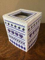 Handmade Needlepoint Plastic Canvas Tissue Box Cover - Purple Country Hearts