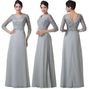 Gray Long Chiffon Evening Bridesmaid Cocktail Party Dress Pageant Prom Ball Gown