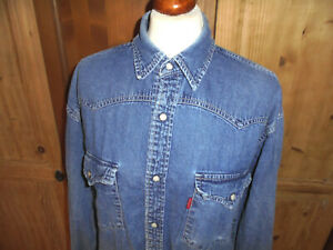 vintage LEVI`S Jeans Hemd Western Shirt levis 90`s regular fit stonewashed  M
