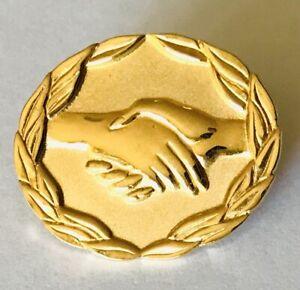 Golden-Handshake-AVON-Advertising-Pin-Badge-Rare-Vintage-A6