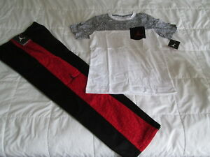 99d1823646d8 NEW Boys NIKE AIR JORDAN 2pc Outfit Blk Red Pant+Wht Top YMD 10-12 ...