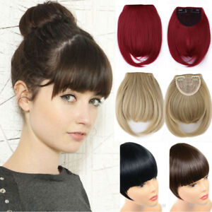 Synthetic-Hair-Natural-Hair-Extension-Clip-In-Front-Hair-Bangs-Fringe-for-human