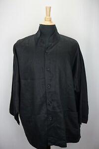 Eskandar-Tunic-Solid-Black-Button-Up-100-Linen-Womens-Oversized-Shirt-Sz-1
