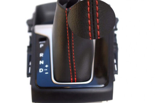 Automatic Shift Boot Leather Synthetic for Hyundai Elantra 13-15 Red Stitch