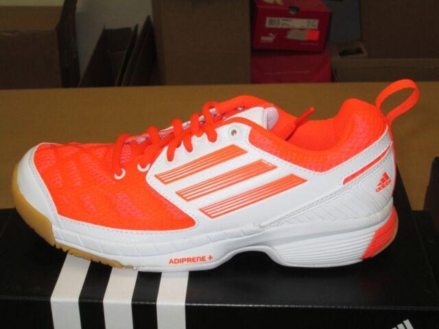 adidas Feather Elite 2 Damen Hallenschuhe Handball SCHUHE Shoes WEISS Neon rot