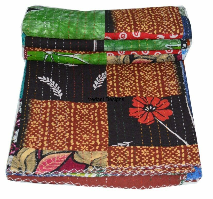 Indian Twin Size Multi color Patchwork Kantha Quilt Reversible Bedspread Throw