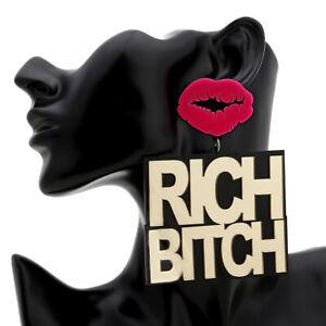 Women-RICH-BITCH-Earring-Acrylic-Drop-Dangle-Stud-Earring-Jewelry