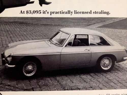 1967 MG MGB GT Vintage Original Print Ad Car Automobile