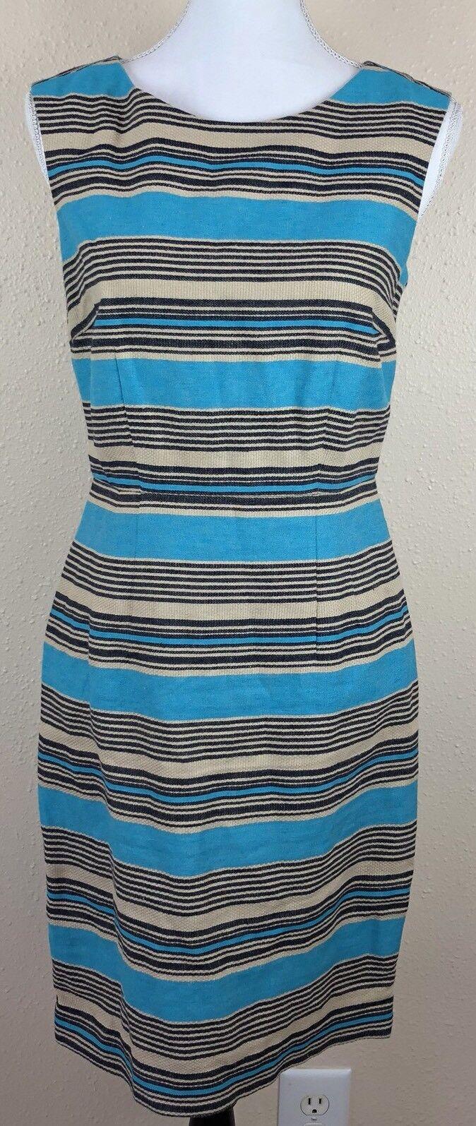 The Limited Blue Tan Striped Sleeveless Sheath Dress Linen Blend Career Work 2