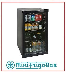 mini frigo con anta in vetro bar vetrinetta per bibite vetrina nero da porta x ebay. Black Bedroom Furniture Sets. Home Design Ideas