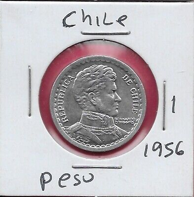 1984 Chile One 1 Peso Brilliant Uncirculated Brass BD O/'Higgins Coin