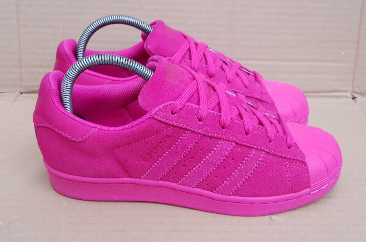 ADIDAS SUPERSTAR RT SHELL TOE TRAINERS CERISE PINK SUEDE SIZE 5 UK V G CONDITION