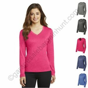 Womens-DriFit-Moisture-Wicking-Long-Sleeve-V-Neck-T-Shirt-Sport-Tek-LST360LS