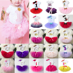 Baby-Girl-039-s-1st-First-Birthday-Dress-Romper-Tutu-Skirt-Princess-Party-Outfit-Set