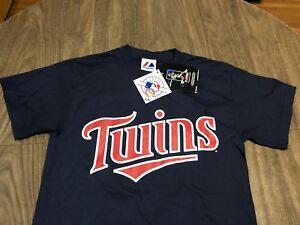 Justin-Morneau-Minnesota-Twins-Small-Navy-T-Shirt-MLB-Genuine-Majestic-With-Tags