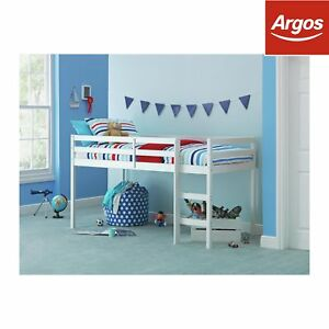 new style b9f66 87a15 Details about Argos Home Kaycie White Mid Sleeper Single Bed Frame