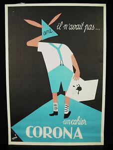 Tomi-UNGERER-les-cahiers-Corona-papeterie-affiche-originale-publicite-ancienne