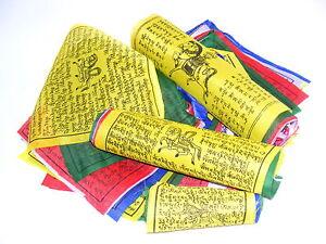 25-TIBETISCHE-GEBETSFAHNEN-15cm-x-15cm-Laenge-4m-NEPAL-PRAYER-FLAGS-HIMALAYA