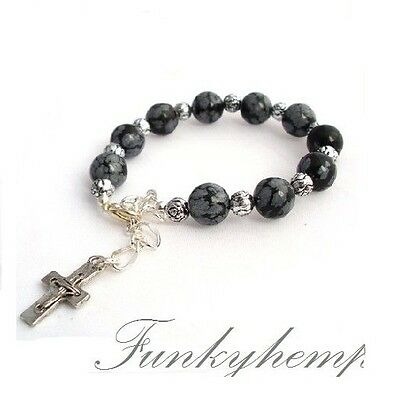 1 Decade 10mm Snowflake Obsidian Beads Rosary Bracelet