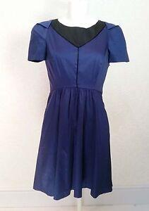 93f0684197 KOOKAI navy Blue Black Khaki mini Fitted pleated Skater Dress size 10