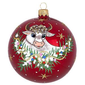 Russian Christmas 2021 Cow The Symbol Of 2021 Red Handblown Russian Christmas Glass Ball Ornament 3 3 Ebay