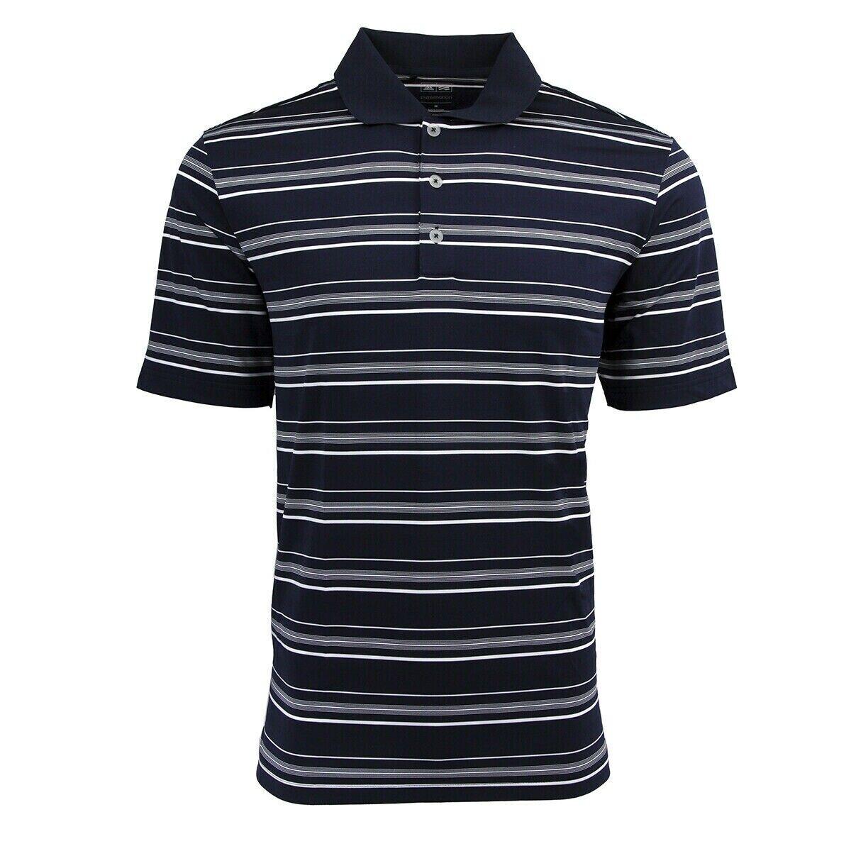 NEW Mens ADIDAS Puremotion Textured Stripe Golf Polo Shirt A123 Navy White 3XL
