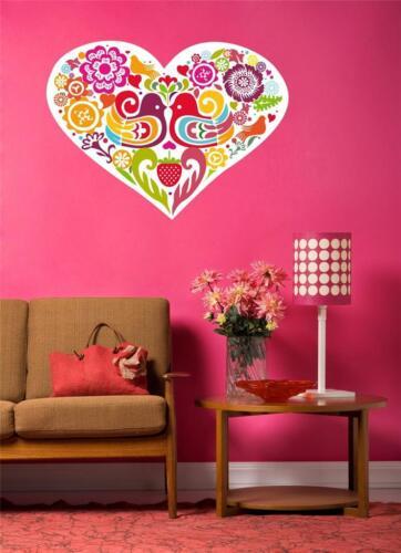 Vintage Love Birds /& Flowers Full Colour Wall Art sticker Heart Shaped