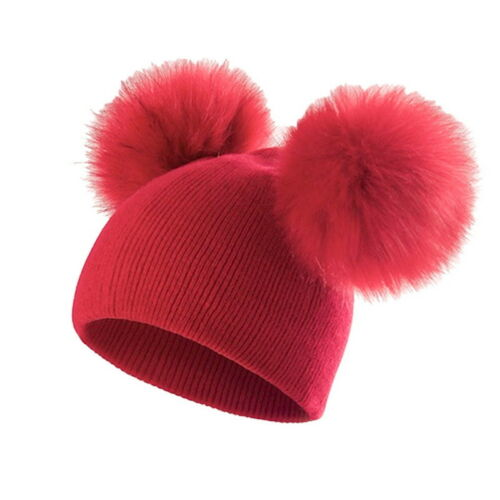 Kid Baby Boys Girls Winter  Hat Warm Cap Double Fur Pom Bobble Knitted Hat