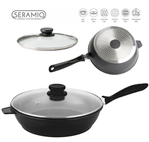 Nea-24cm-Saute-Pan-Induction-Gas-Electric-Hob-Non-Stick-Glass-Lid-Deep-Fry-Black