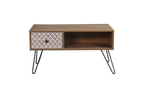 Modern Industrial Coffee Table Retro Metal /& Wood Storage Table Vintage Design