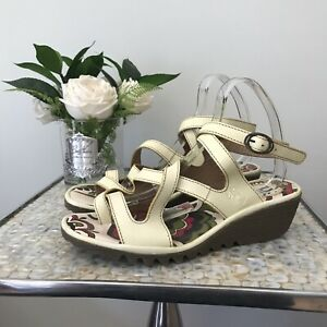 Fly-London-Size-6-39-yellow-ankle-wrap-leather-sandals-quirky-wedged-VGC-summer