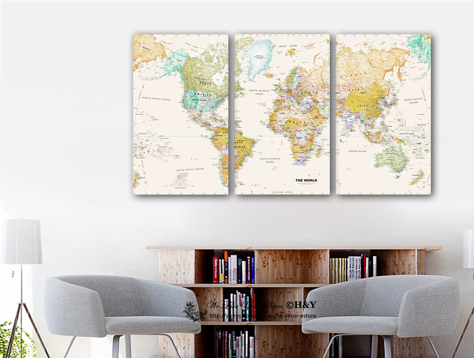 Map Wall Decor Diy: Set Of 3 World Map Stretched Canvas Prints Framed Wall Art