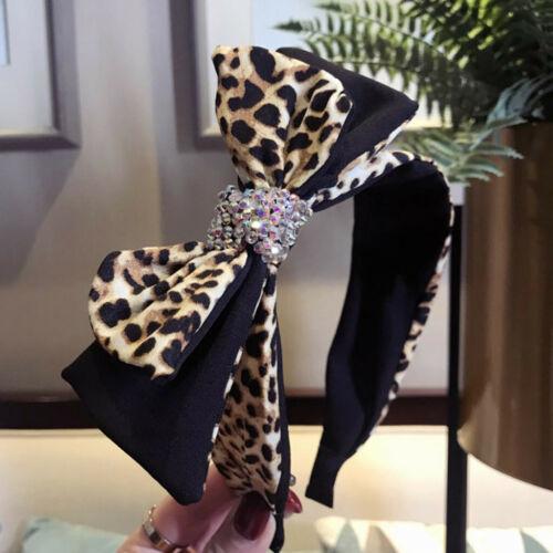 Women/'s Crystal Leopard Print Headband  Fabric  Head Wrap Hair Band Accessories