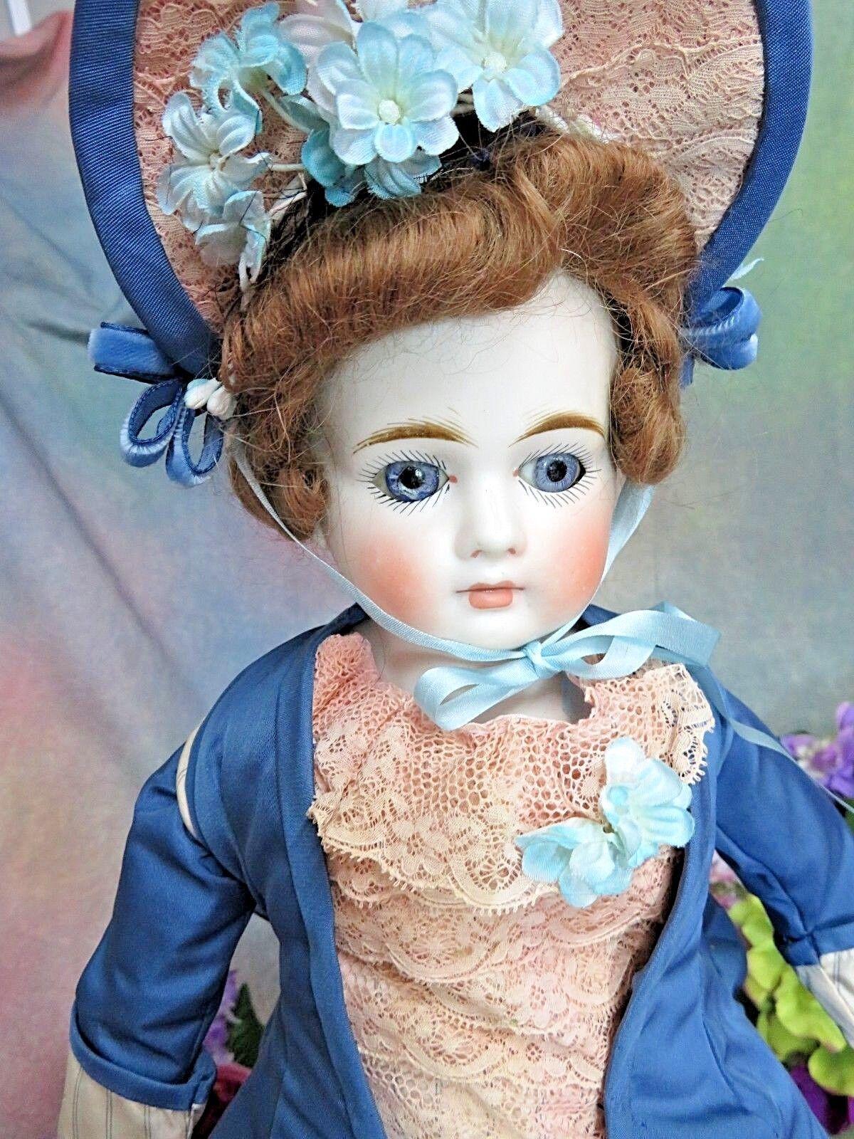 Moda Muñeca Biscuit Alemán Antiguo Boca Cerrada Belton tipo Victoriano Vestido 20