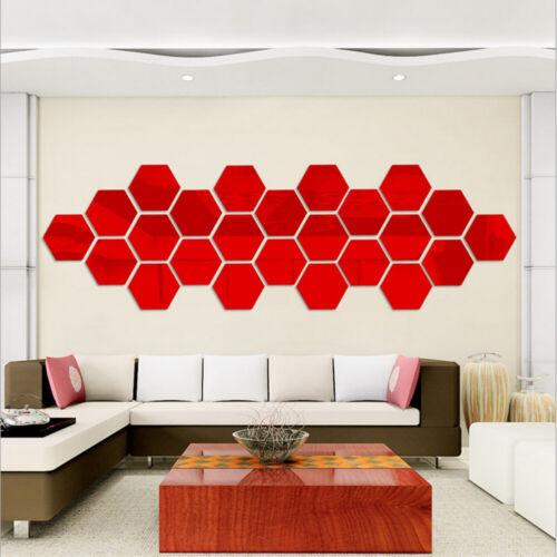 3D Acrylic Hexagon Wall Sticker Removable Mirror Home Decor Art DIY Stickers