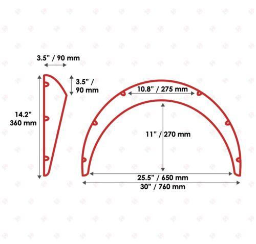 "JDM Fender Flares UNIVERSAL Wheel arch SET 3.5/"" wide 2 pieces"