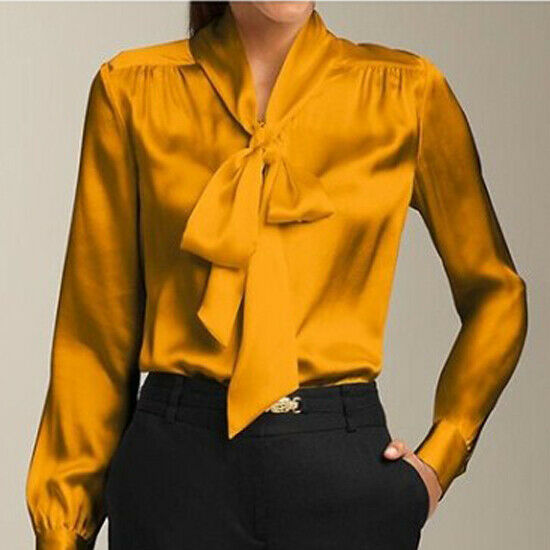 S-3XL Women's Solid Slim Long Sleeve  Tops Shirts Blouse Satin Short Blouse yrt