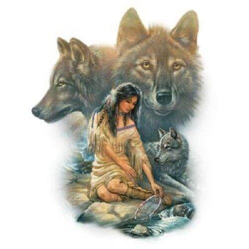 Wolf Indian HEAT PRESS TRANSFER for T Shirt Tote Sweatshirt Fabric Block #224c