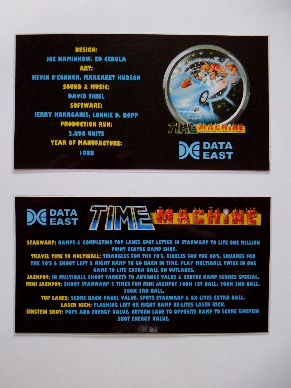 * * 'TIME MACHINE' Data East 1988 Custom Instruction/Apron Cards * * (New)