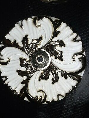 JB Gold White Enamel Metal Drawer Knob Floral Shabby French Cottage Style New