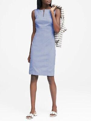 Light Blue SIZE 10  #326389 E1025 Banana Republic Birdseye Paneled Sheath Dress