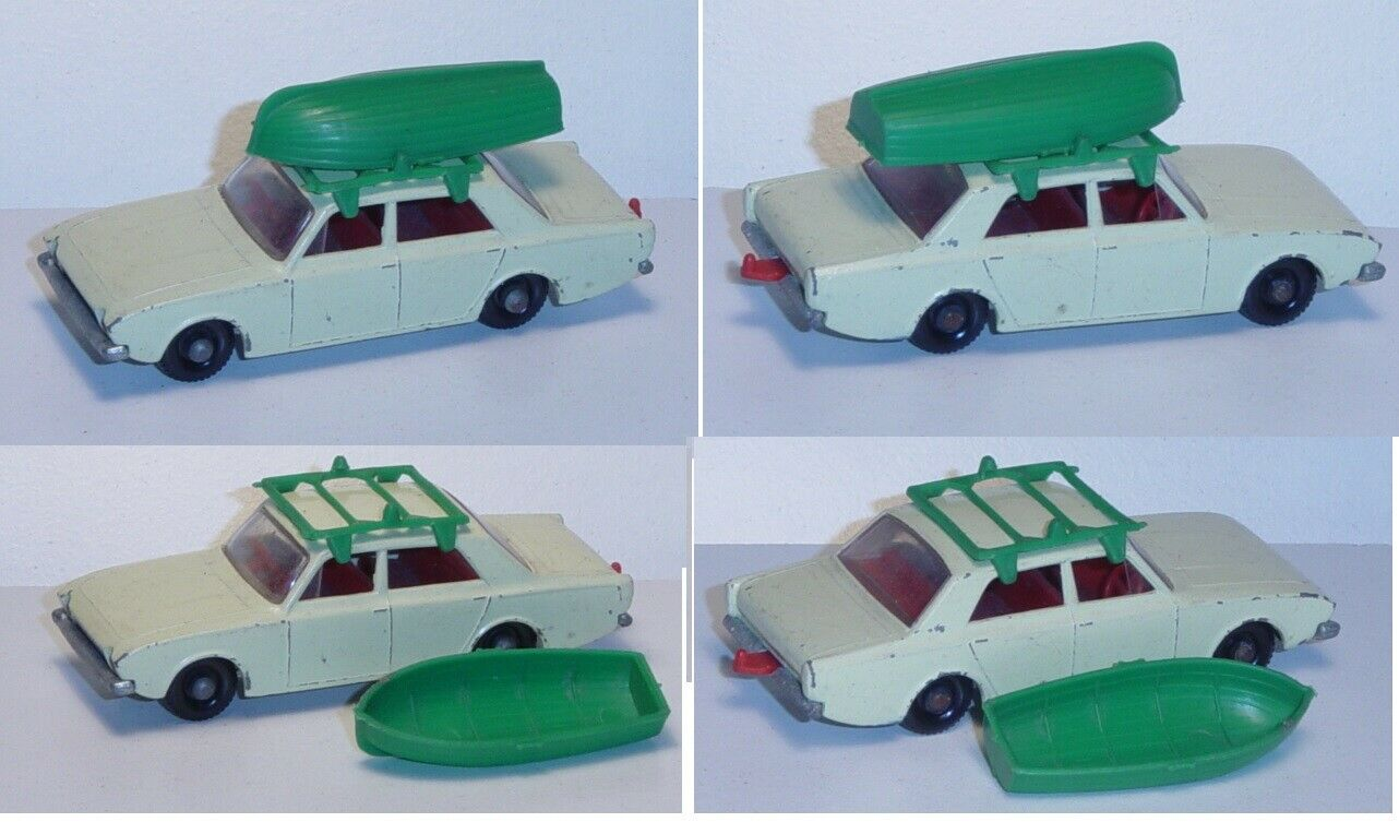 Matchbox 45 Ford Corsair with Boat, Boat Green, with towbar
