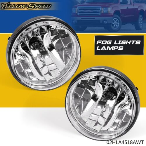 Pair For 2007-2013 GMC Sierra 1500 2500 Front Bumper Fog Lights Lamps Left+Right
