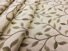 VOYAGE CERVINO CATKIN GREEN LEAF PRINTED UK CURTAIN UPHOLSTERY FABRIC LAMPAS