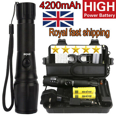20000lm SHIXE Rechargeable LED Tactical 18650 Flashlight Military Grade Torch
